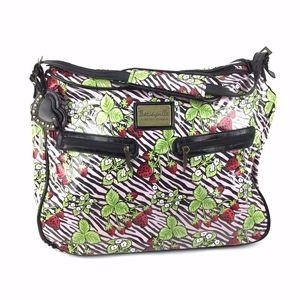 Betsy Johnson Strawberry/Zebra Duffle Suitcase